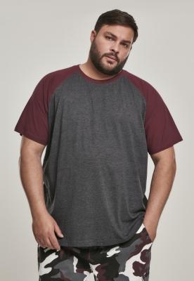 Tricouri casual in doua culori pentru barbati gri carbune-redwine Urban Classics