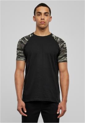 Tricouri casual in doua culori pentru barbati negru-camuflaj Urban Classics