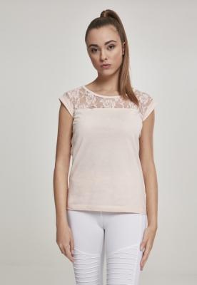 Tricouri cu dantela la umeri roz Urban Classics