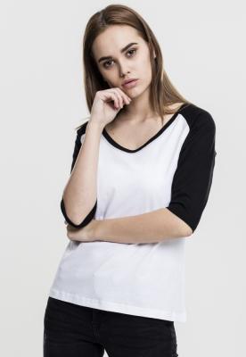 Tricouri cu maneca trei sferturi raglan alb-negru Urban Classics