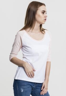 Tricouri cu maneca trei sferturi raglan alb-roz