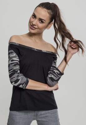 Tricouri cu maneca trei sferturi raglan negru-camuflaj Urban Classics