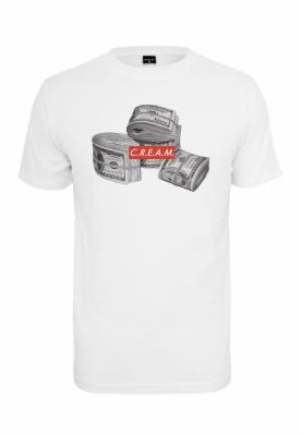 Tricouri cu texte C.R.E.A.M alb Mister Tee