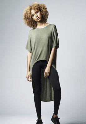 Tricouri largi mai lungi in spate cu maneca scurta pentru Femei oliv Urban Classics