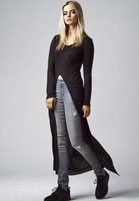 Tricouri lungi cu taieturi in X in fata si spate pentru Femei negru Urban Classics