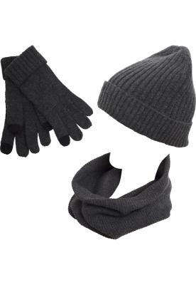 Set iarna gri inchis-melange Urban Classics