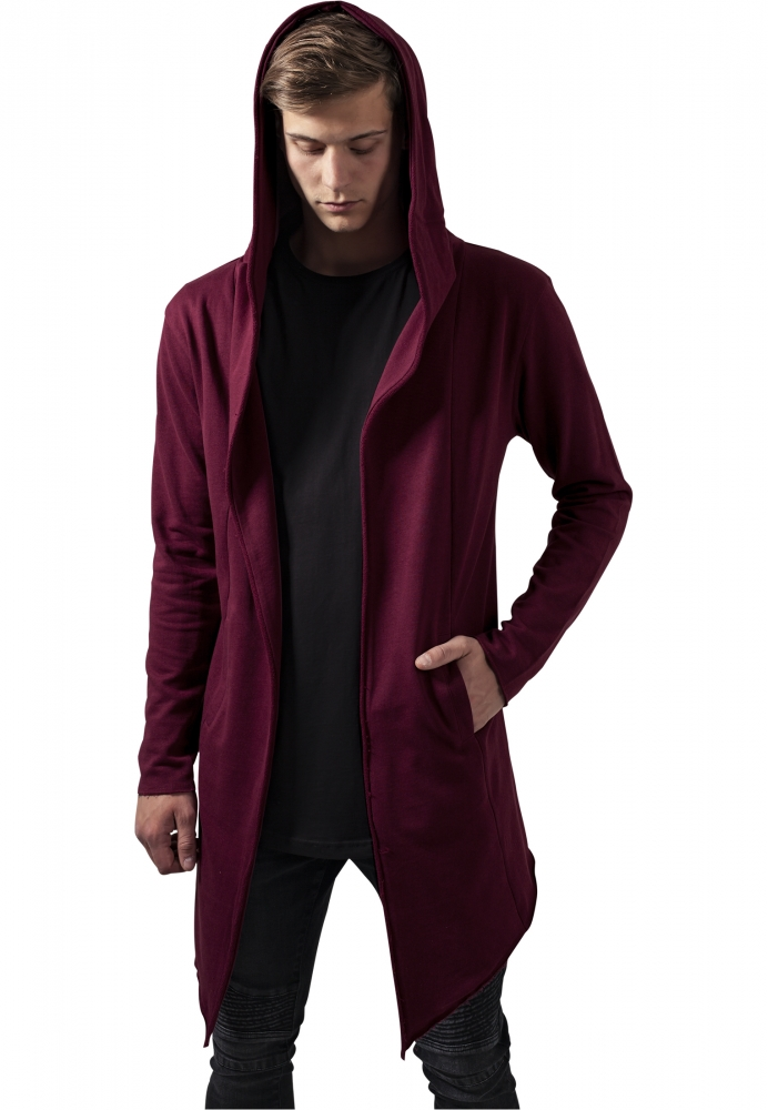 Cardigan lung cu gluga rosu burgundy Urban Classics