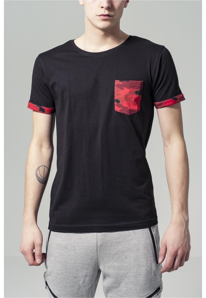 Tricou Cu Buzunar Camo Contrast Rosu-camuflaj Urban Classics
