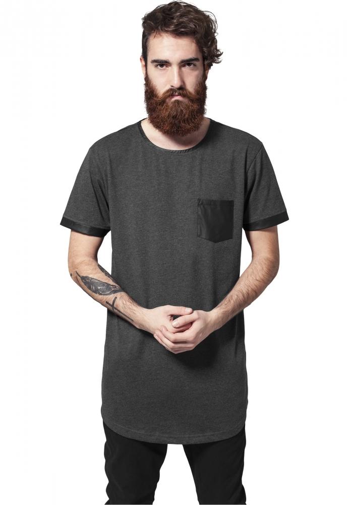 Tricou Lung Cu Buzunar Imitatie Piele Gri Carbune-negru Urban Classics