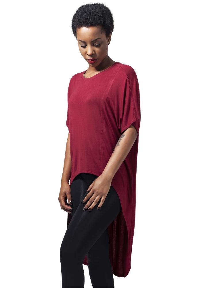 Tricouri Largi Mai Lungi In Spate Cu Maneca Scurta Pentru Femei Rosu Burgundy Urban Classics